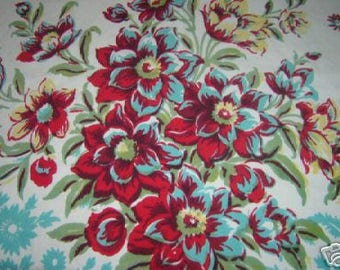 TC035 ~ Vintage tablecloth Floral print Red Aqua Yellow Green Vintage linen