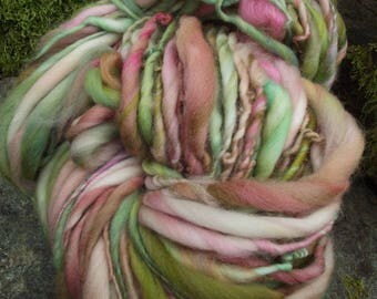 Handspun yarn, slub yarn, art yarn, Merino bulky thick and thin yarn-EASTER BASKET