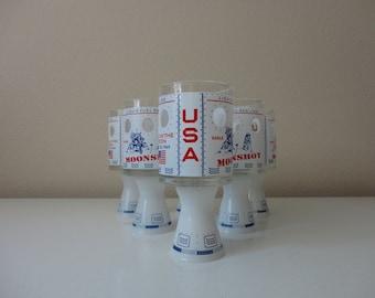 VINTAGE set of 6 1969 apollo moon landing COCKTAIL GLASSES
