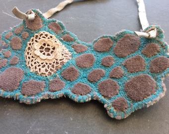 Blue grey stitched velvet necklce
