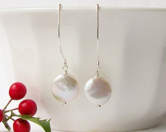 White Coin Freshwater Pearl Dangle Earrings, White Pearl Earrings