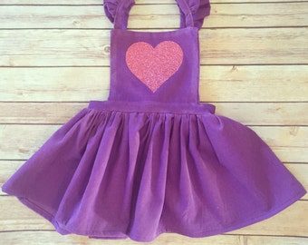 Susanna Romper in Red and Purple Corduroy with heart- Valentine's Day dress, dress overalls, corduroy overall dress, modern girls clothing