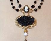 Vintage inspired mourning necklace