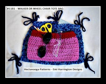Crochet PATTERN, Walker or Wheelchair tote bag, carrier bag, accessories for handicapped, #1181,