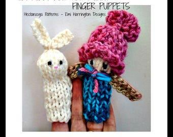 KNITTING PATTERN, Finger Puppets, Bunny finger puppet, Girl finger puppet, easy beginner knitting, flat knit, #1189