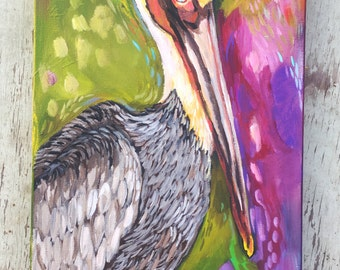 Ready to Hang Acrylic Pelican Painting on Wood
