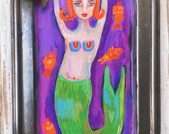Small Mermaid Folk Art Painting on a Vintage Tray