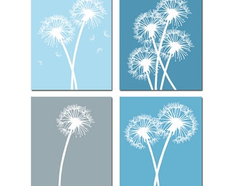 Dandelion Wall Art Dandelion Decor Dandelion Art Set of 4 Prints Flower Wall Art Flower Decor Poppies Art Poppy Art - CHOOSE YOUR COLORS