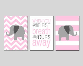 Pink Nursery Decor Elephant Nursery Art Pink - When You Took Your First Breath Quote Chevron Elephant Set of 3 Prints - CHOOSE YOUR COLORS
