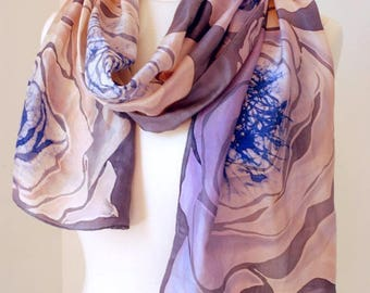 Hand -painted Long Silk Batik Scarf. Pale Trendy Colors. Stylish Gift for Mom and Mom-in-law.