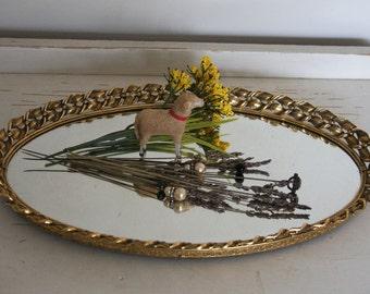 Vintage MIRRORED TRAY- Oval Shaped Mirror Jewelry Organizer- Vanity Tray- Keepsake Display- Hollywood Regency- K15