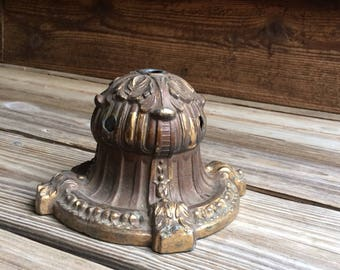 Vintage Brass Lamp Base- Decorative Salvaged Heavy Base- Metal Cast Repurpose Potential- E2