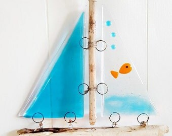 Goldfish Fused Glass and Driftwood Sailboat Suncatcher