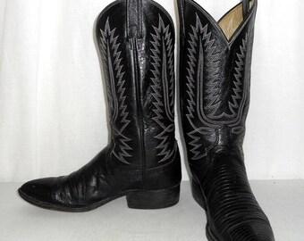 Black Lizard Boots Mens size 8.5 D / womens 10 Dan Post Vintage Western Wear