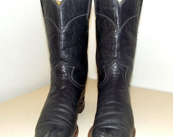 Dark Blue Justin brand Cowboy boots size 5 B -- Roper style
