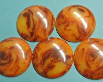 Lot of 5 rare larger vintage 1940s unused round flamy swirled opaque rustybrown/butterschotch yellow genuin tested bakelite cabochons 23 mms