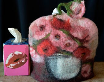 Tissue Box Cover Felted box cover, handmade felted cover, Still Life, Flowers, Kleenex Cover, gift idea Tissue box holder Womens Gift,