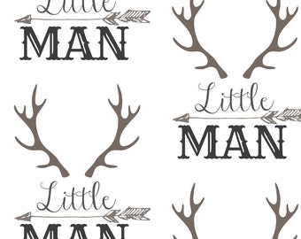 Woodland Nursery Fabric - Little Man Arrow Horns By Hudsondesigncompany - Antler & Arrow Baby Boy Cotton Fabric By The Yard With Spoonflower