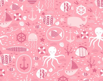 Girly nautical decor etsy for Girly dinosaur fabric