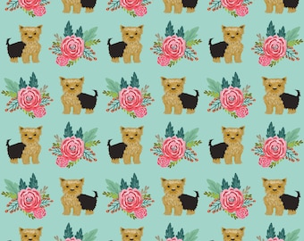 Blue Green Floral Yorkie Dog Fabric - Flowers Florals Yorkshire Terrier Cute Dog  By Petfriend - Cotton Fabric By The Yard With Spoonflower