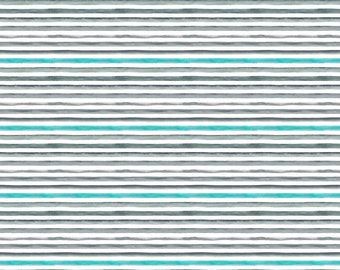 Grey Teal Stripes Fabric - Watercolor Stripes By Dinaramay - Stripes Cotton Fabric By The Yard With Spoonflower