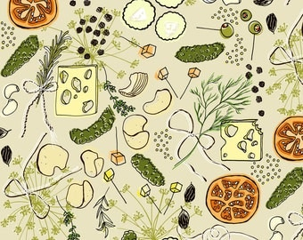 Pickles + Cheese Fabric - The Artisan Pickle By Graceful - Mod Scandi Pickle and Cheese Cotton Fabric By The Yard With Spoonflower