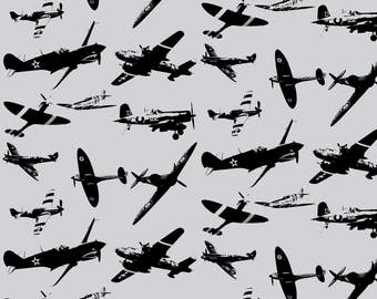 Retro Aviator Fabric - Retro Aviator Rainy Day By Smuk - Gray Vintage Airplane Cotton Fabric By The Yard With Spoonflower