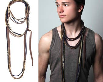 Brown & Navy Fabric Necklace, Neutral Layered Scarf, Mens Necklace, Womens, Mens, Jersey Cotton, Tribal Necklace, , BurningMan, Burning Man