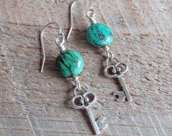 Blue Green Chrysocolla Silver Key Earrings, Healing Natural Gemstone Earrings