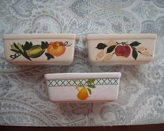 Set of 3 Nantucket Heavy Ceramic Mini Loaf Pans, 1980s, Fruit, Baking, Cooking, Recipe, Bread Pan, Ornamental
