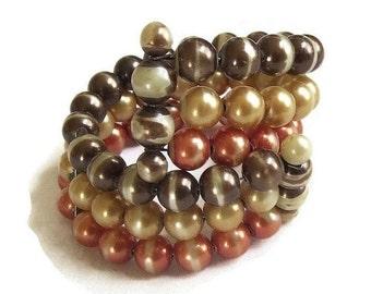 Memory Wire Wrap Bracelet Graduated Orange, Brown & Cream Beads Vintage