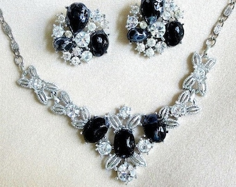 Clear Rhinestone Necklace and Earrings Set Black Lucite Vintage