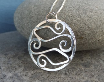 Sterling Silver Swirl Circle Pendant - TWO FISHES - Handmade Metalwork Wirework - Under the Sea collection - Pisces Zodiac Fish Necklace