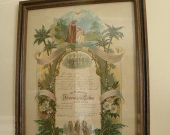 Antique 1918 Lovely Religious Baptism Certificate