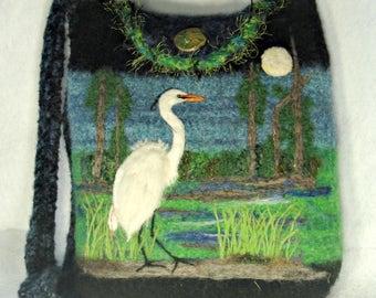 Felted Purse, Felted Handbag, Felted Tote, Egret Art, Bird Art, Needle Felt Bird