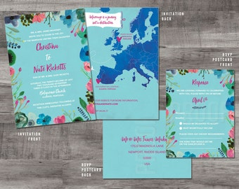 Destination Wedding Invitation, Destination Invitation, European Map Wedding Invitation, Europe Map Wedding