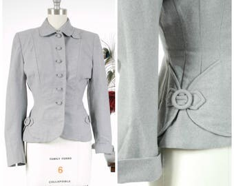 Vintage 1950s Jacket - Perfectly Tailored Heathered Grey New Look Early 50s Jacket or with Nipped Waist and Buckle Accents