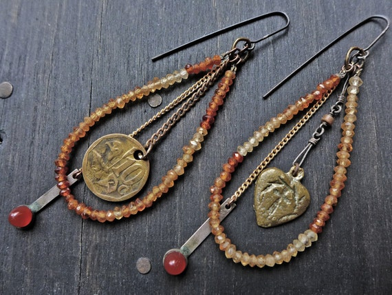 "Artisan earrings with gemstones- ""Priestess of Valor"""