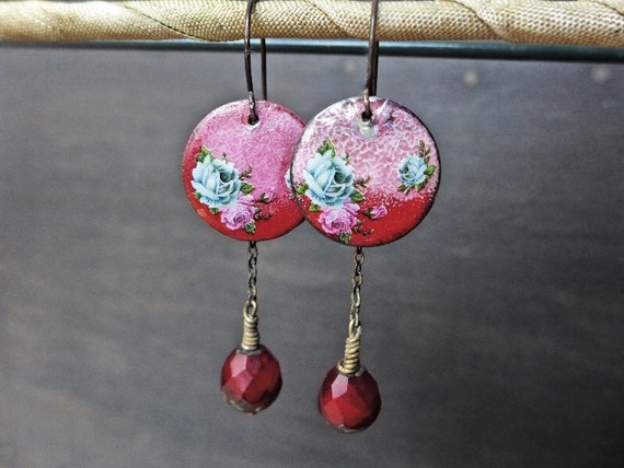 "Red enamel earrings, handmade artisan dangles, ""A Dalliance"""