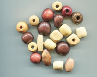wood beads lot wooden beads brown beads beige beads round barrel large beads big beads mixed lot 15mm 25mm wood macrame beads 21 piece