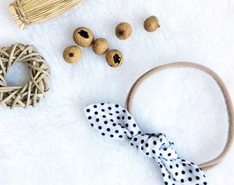 White black dots knot bow nylon headband, baby newborn toddler child, cotton head scarf, trendy hair wrap, wedding chic fashion photo prop