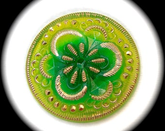 CLEARANCE 3 or 6, Czech Glass Buttons, 27mm 1-1/16 inch - Lime Green Clover Flower with Gold Luster Detailing