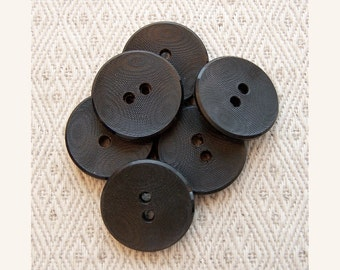 Etched Black Buttons, 20mm 3/4 inch - Jet Black Moire Plastic Sewing Buttons - 6 VTG NOS Satin Licorice Black Sew Through Buttons PL585