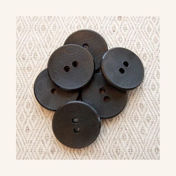 Etched Black Buttons 20mm - 3/4 inch Fingerprint Jet Black Sewing Buttons - 6 VTG NOS Satin Matte Licorice Black Vintage Buttons PL585
