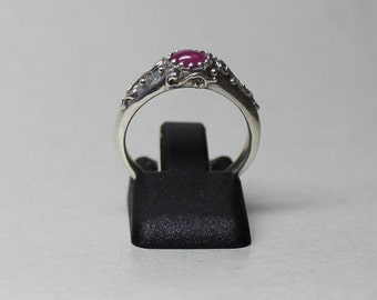 ancient to modern style  sterling silver ring with oval pink sapphire size 6
