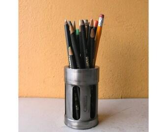 Pencil Holder Industrial Decor Minimlaist Desk Storage Organizer Steampunk Office Salvaged Steel Pencil Cup Pen Stand Coworker Gift for Men