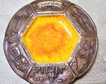 DISNEYLAND Walt Disney Ceramic Glass Coaster Pin Dish Bowl Rare Souvenir Magic Kingdom Heavy Ashtray 1970s Paperweight Brown Orange USA