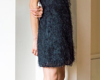 Vintage 1990s LBD fringed sheer black strappy mini dress UK10