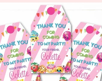 Instant Download - Editable - Shopkins and Shoppies Birthday Party Favor Tags Thank You Tags