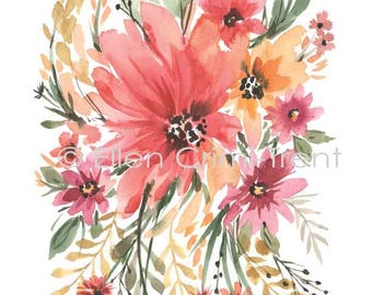 Boho Chic Wall Decor/Watercolor wall art/ romantic wall decor/ mothers day gift/ watercolor flowers/ gifts for her/shabby chic decor